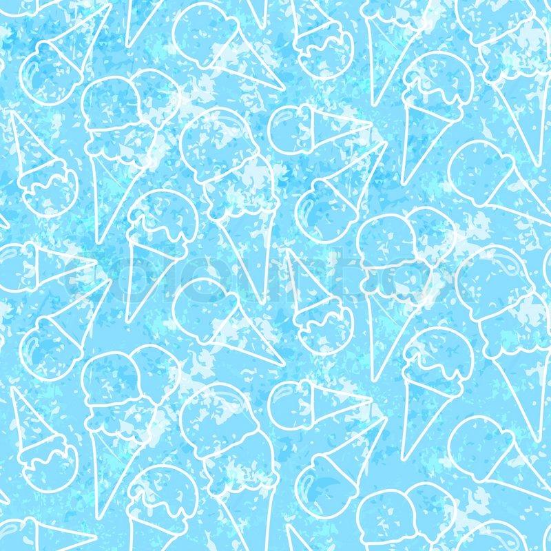 Seamless Ice Cream Background Vintage Style: Seamless Summer Ice Cream Pattern (grunge Ice Background