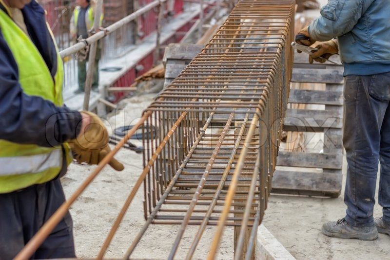 Steel Reinforcement Cage Beams Are Stock Photo