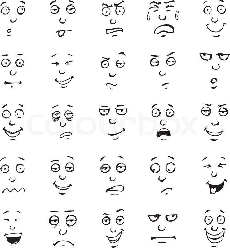 Drawing Lines With Emotion : Cartoon gesicht emotionen hand gezeichnete satz