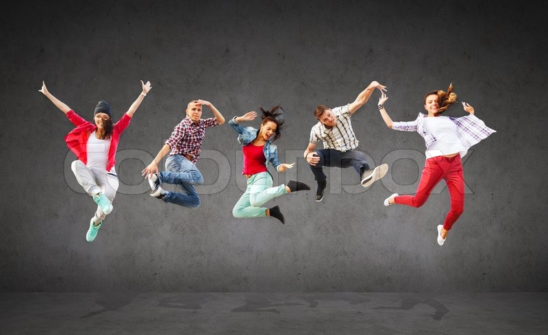 Summer, sport, dancing and teenage lifestyle concept - group of teenagers jumping, stock photo