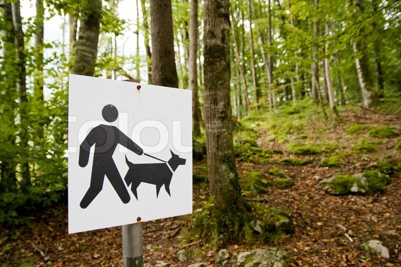 Signage on a pårk for people with dogs, stock photo