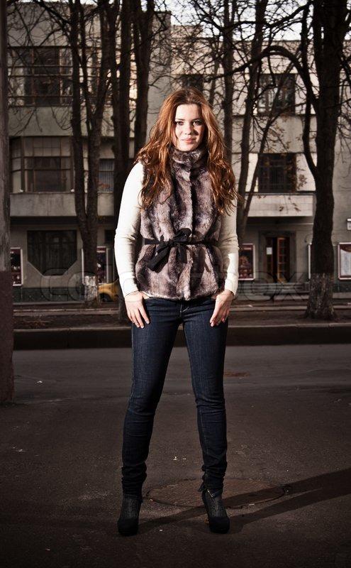 redhead in fur coat