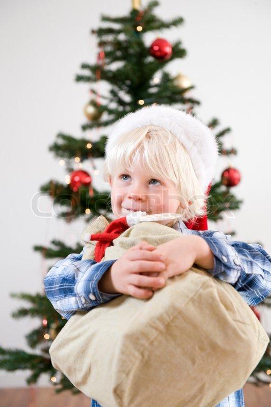 Mit Teppich auslegen, Geschenke, Etage  StockFoto