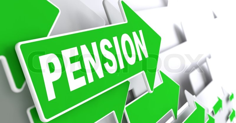Pension on Direction Sign - Green Arrow on a Grey Background, stock photo