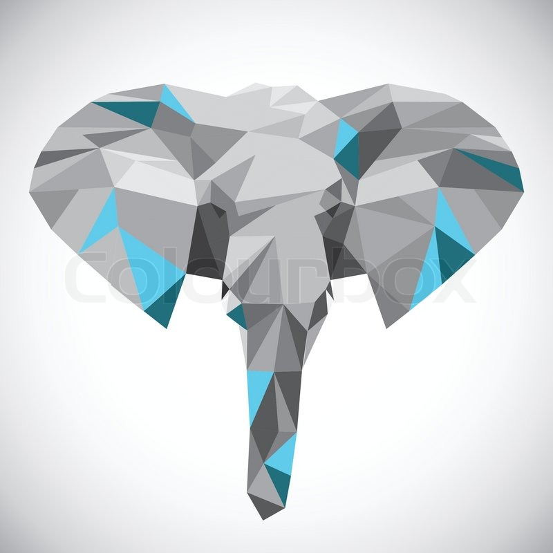 Low Polygonal Elephant Head In Popular Style Made Of