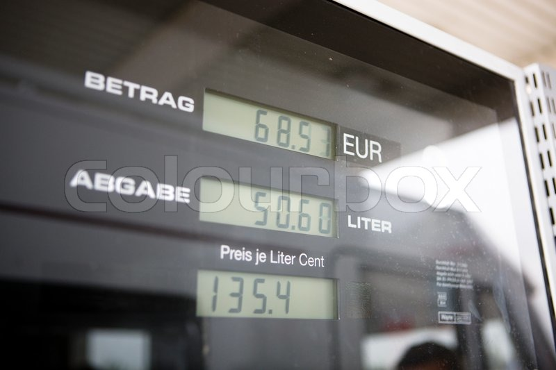 Stock image of 'Gasoline prices in german'