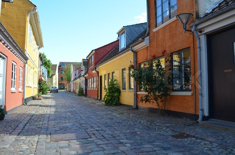 Beautiful coloured authentic townhouses of downtown Odense in Denmark | Stock Photo | Colourbox