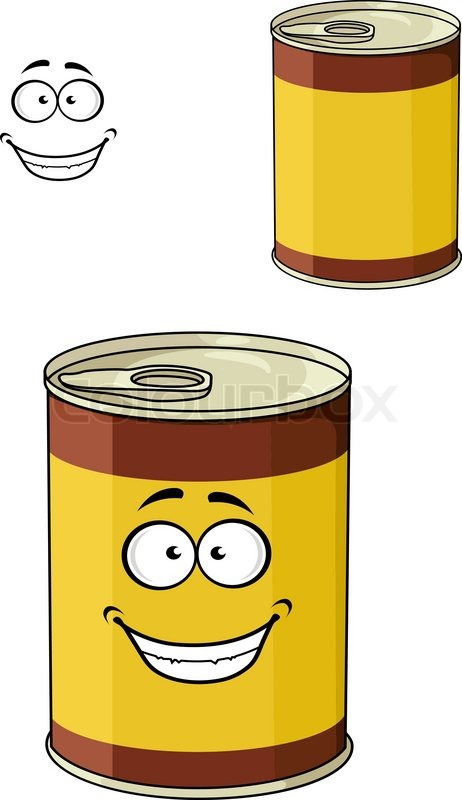 Cartoon can of tinned food with a happy smiling face ...