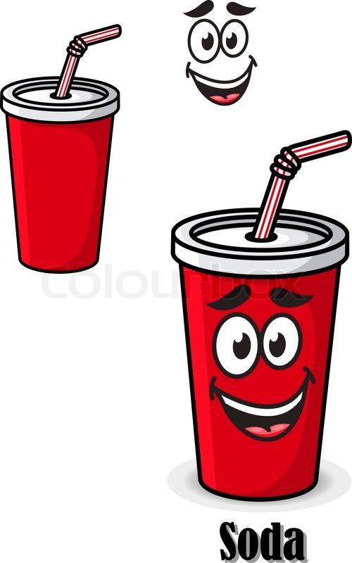 soda in einem rot take away becher mit strohhalm trinken. Black Bedroom Furniture Sets. Home Design Ideas