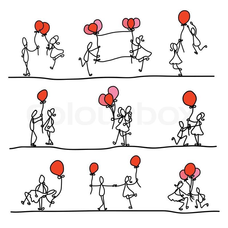 Cartoon Characters Love : Hand drawing cartoon abstract love character stock