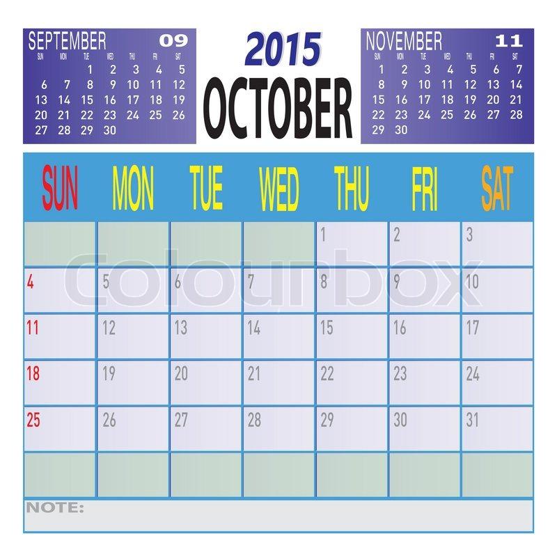 Monatliche Jahr 2015 bunte Kalendervorlage Schadule | Vektorgrafik ...