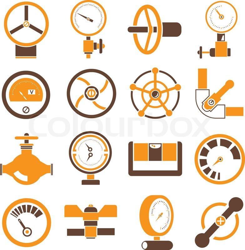 Ventil-Symbole in Farbe orange theme | Vektorgrafik | Colourbox