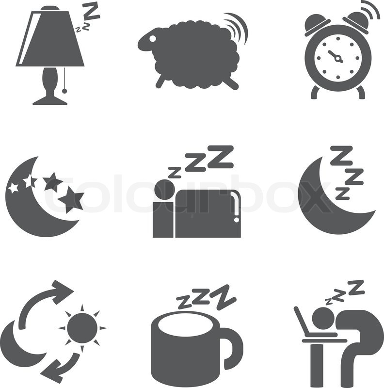 sleep time icons stock vector colourbox. Black Bedroom Furniture Sets. Home Design Ideas