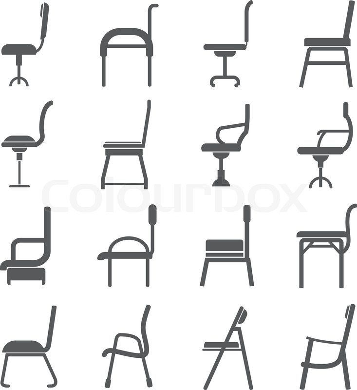Chair Icons In Side View Stock Vector Colourbox
