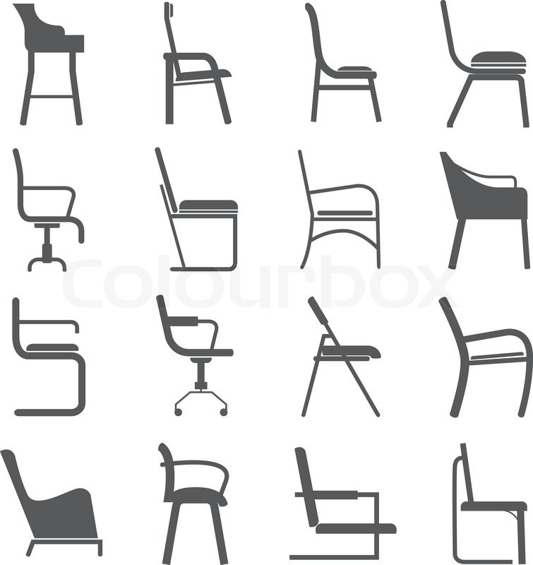Chair icons in side view | Stock Vector | Colourbox
