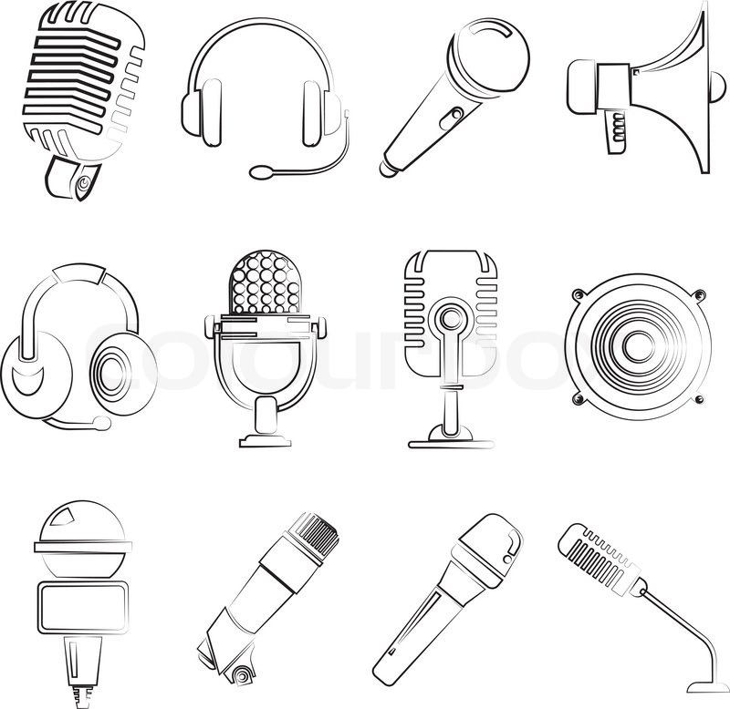 sketch line mic and speaker phone icons