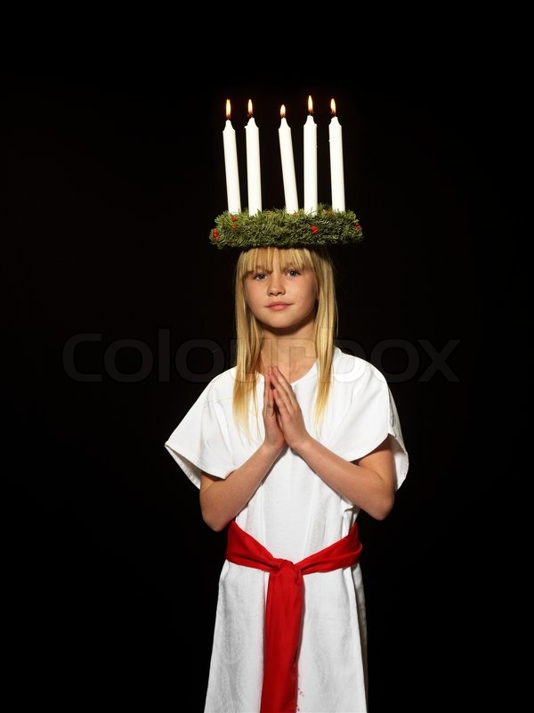 ee05d5e45aca Stock image of  Young danish girl dressed in the traditional Santa Lucia  dress