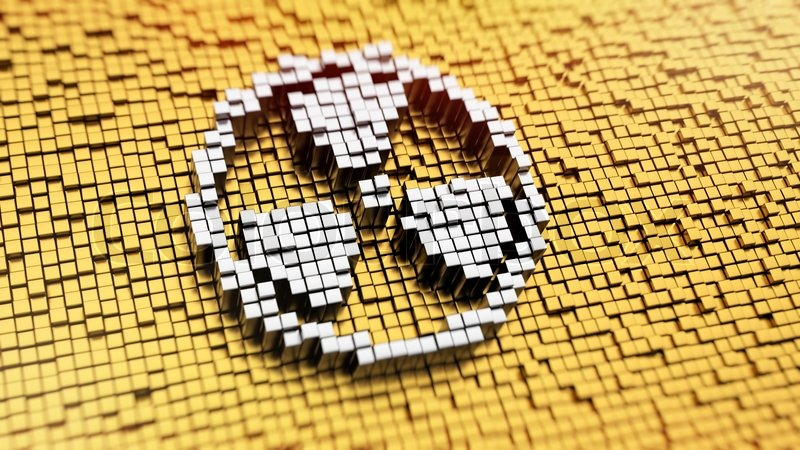 Pixelated Radiation Symbol Made From Cubes Mosaic Pattern Stock