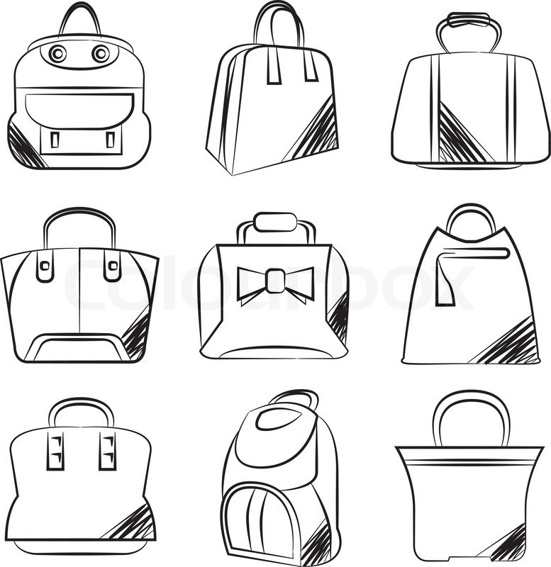 Drawing Lines Brand : Sketch line bag icons stock vector colourbox