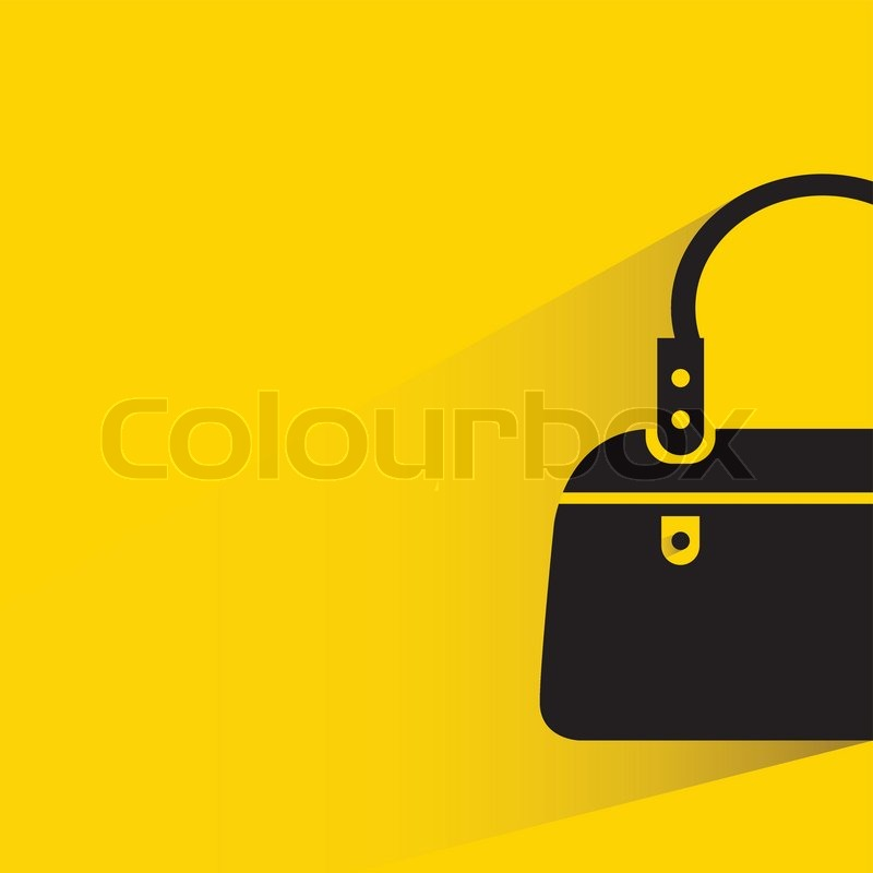 black fashion bag on yellow background stock vector colourbox