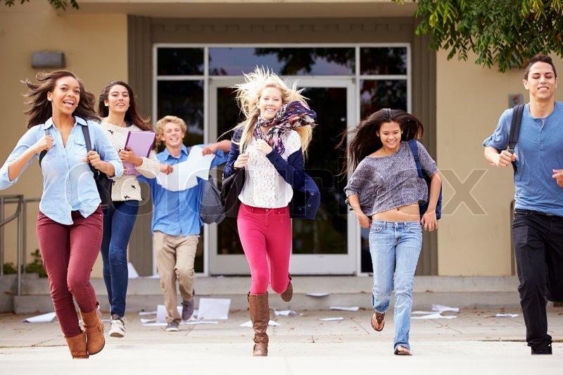 High School Pupils Celebrating End Of Term, stock photo