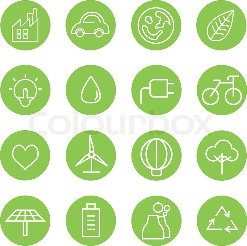 save energy icons ecology icons in green buttons stock