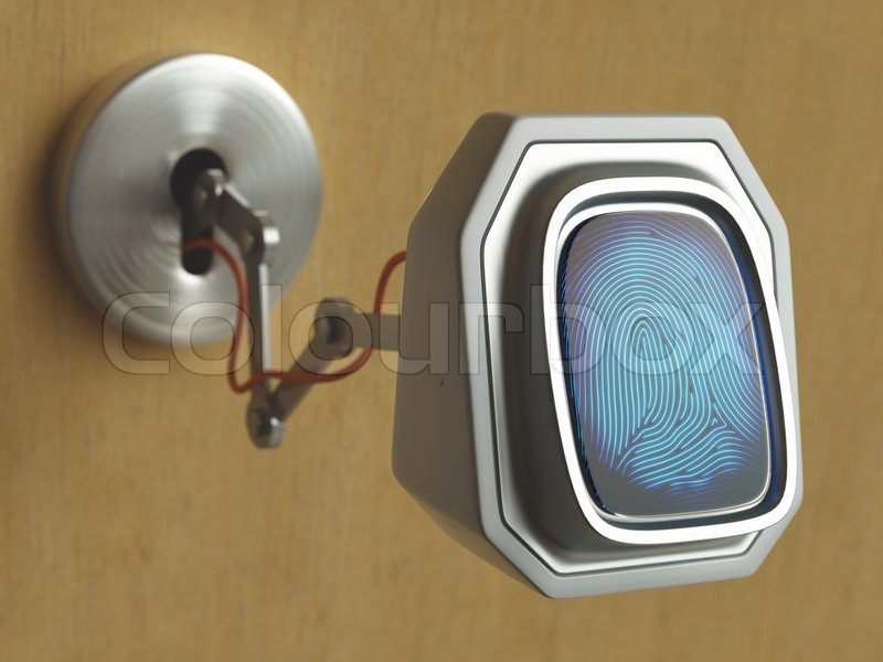 Fingerprint scanner coming through the keyhole. Concept of changing technology, stock photo