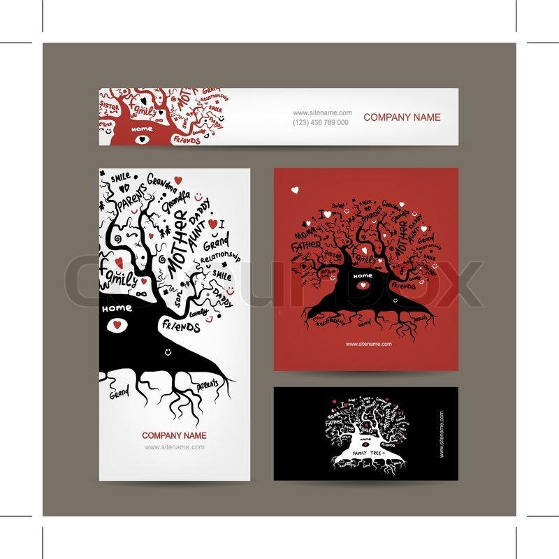 Satz von visitenkarten design mit alten stammbaum stock for Stammbaum basteln mit kindern