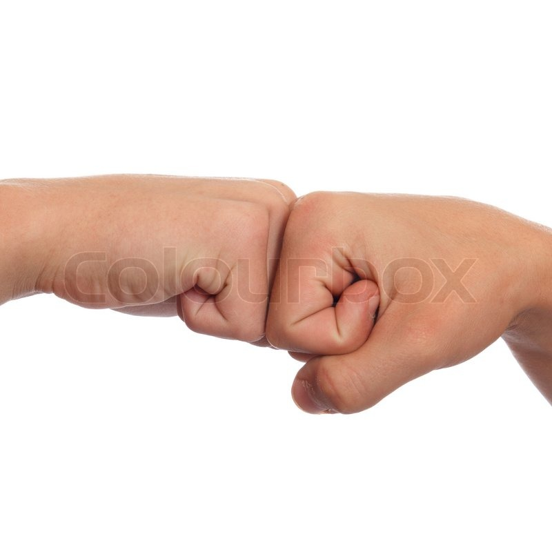 A couple of fists greeting each other stock photo colourbox m4hsunfo