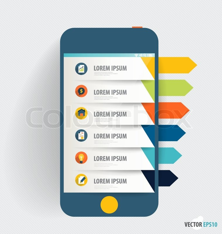 Touchscreen device with infographics paper template. Business ...