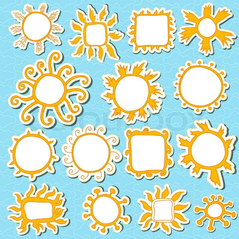 Sonnen, Kinder und Babys Stil Bilderrahmen Kunst, blauer Hintergrund ...