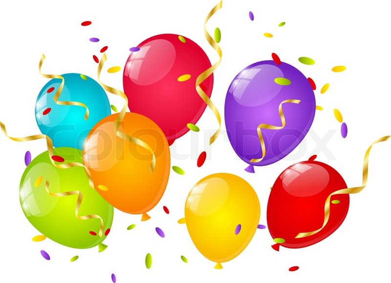 Color balloons with ribbons and confetti | Stock Vector | Colourbox