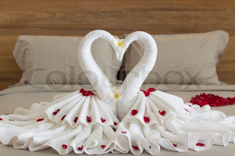 Bedroom interior design with swans from the towel decoration on bed  Bedroom  interior design with. Decoration Bed