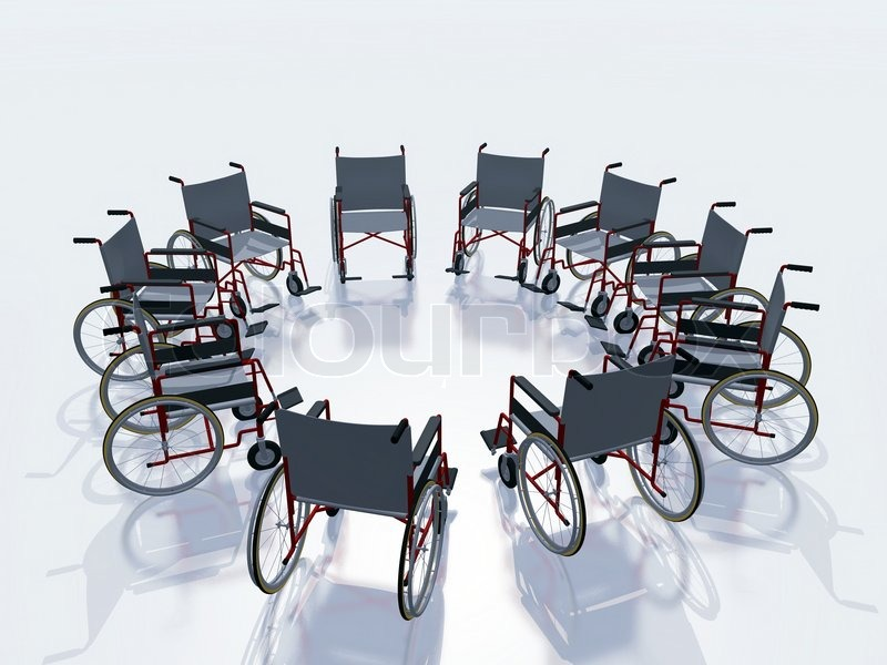 Illustration of wheel chairs in circle, stock photo