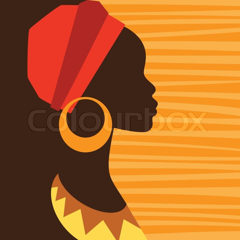 silhouette of african girl in profile with earrings stock vector colourbox