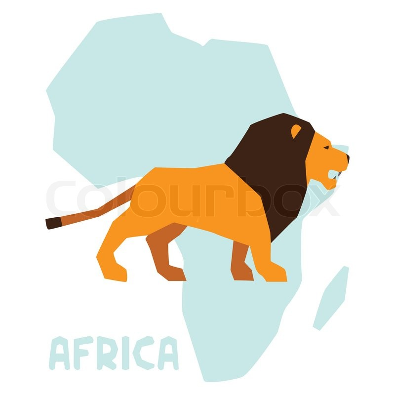 Lions in Africa Map on Background Africa Map