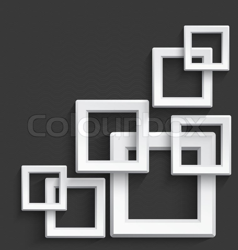 Illustration of white 3d square frames overlapping with realistic ...
