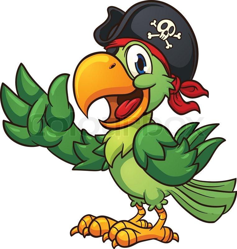 Cartoon Pirate Parrot Vector Clip Art Stock Vector