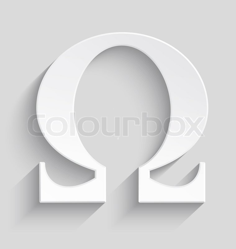 White Omega Letter With Realistic Shadow On Gray Background