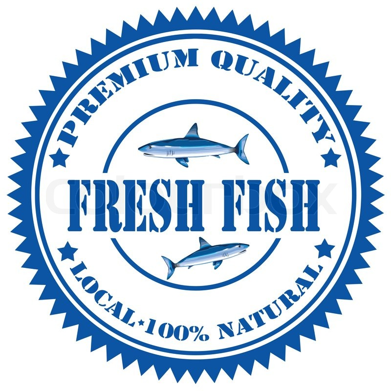 Label With Text Fresh Fishvector Illuustration Stock Vector