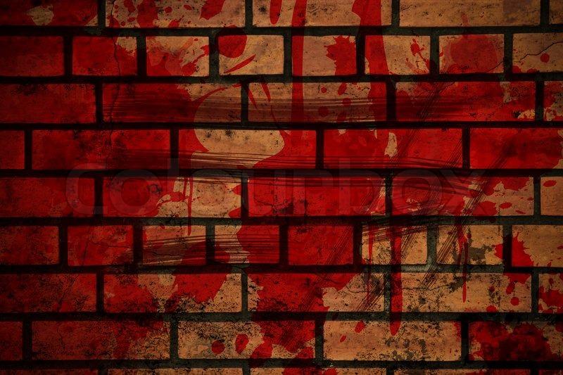Blood Splash On Brick Wall Stock Photo Colourbox