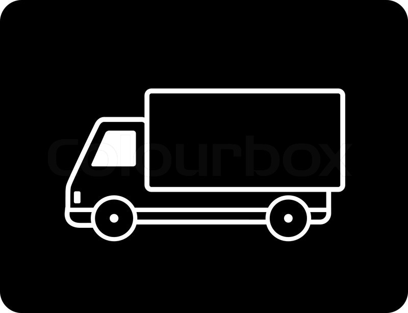 Shipping Truck Silhouette On Black Button Stock Vector