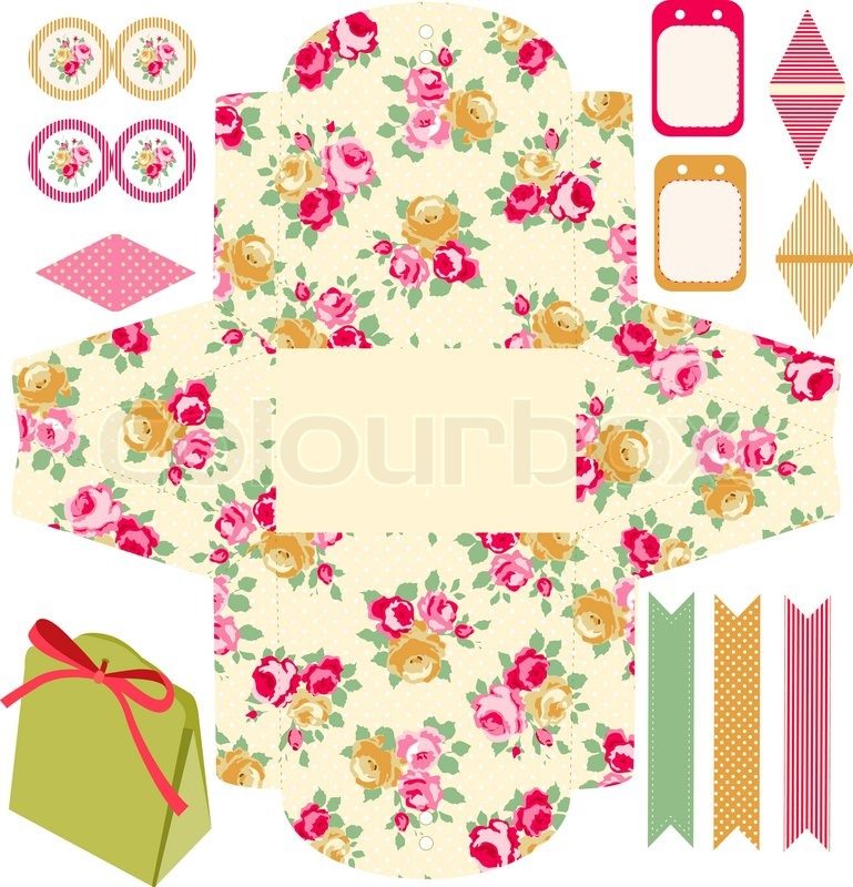 Party set. Gift box template. Abstract floral shabby chic pattern ...