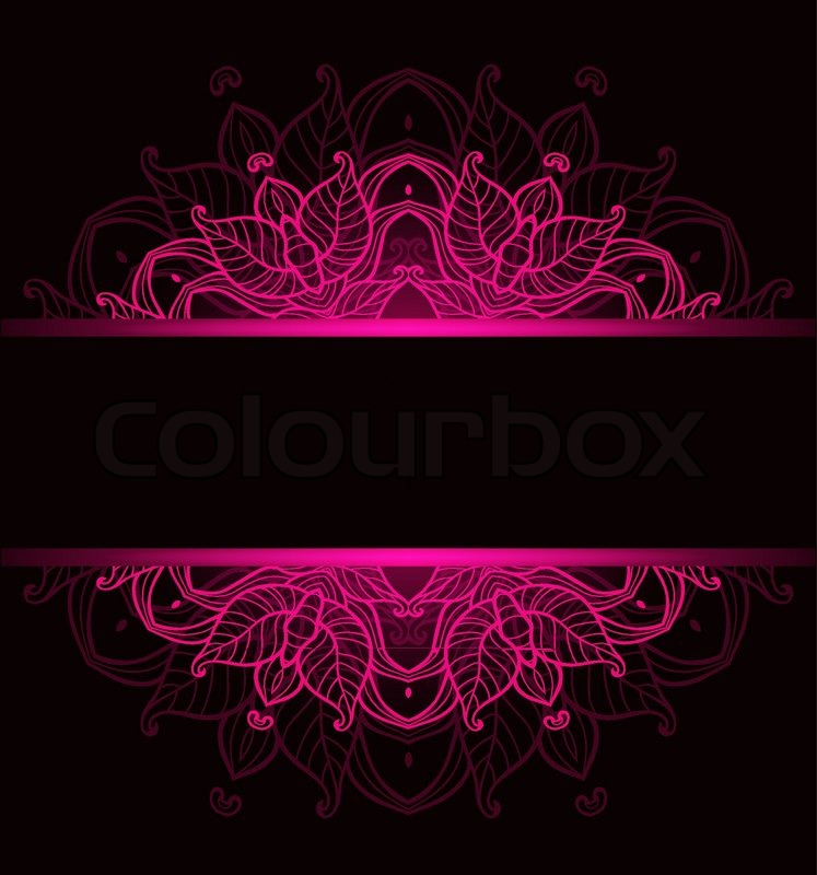 Wallpaper Black Pink: Black Vector Decorative Background With Pink Ornament