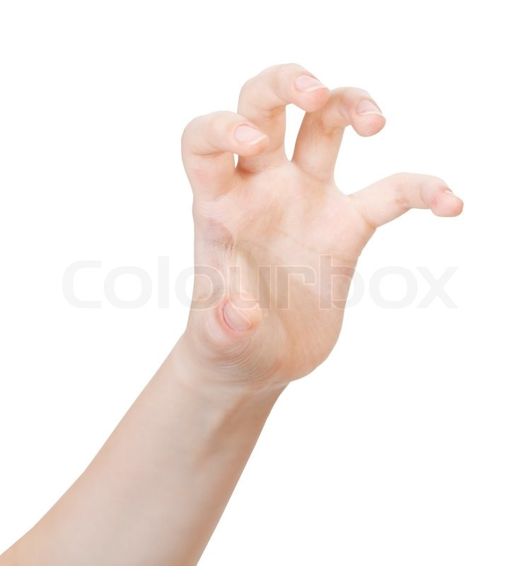 Open claws palm - hand gesture isolated on white background | Stock ...