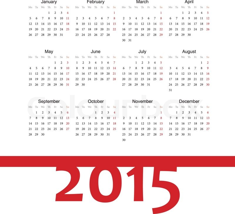 Simple Square European 2015 Year Vector Calendar Week Starts From