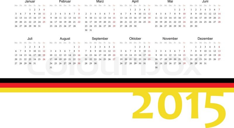 simple german 2015 year vector calendar week starts from monday vector