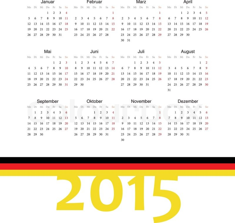 simple square german 2015 year vector calendar week starts from monday stock vector colourbox