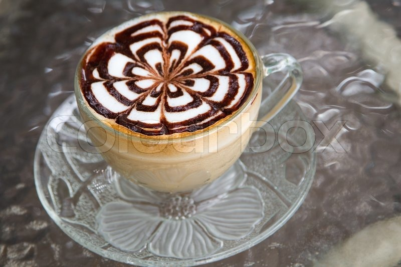 Coffee art in a cup on background, stock photo