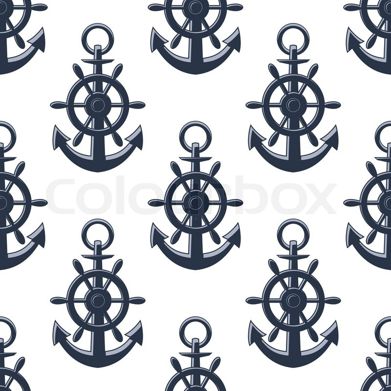 Sea Anchors Seamless Pattern For Stock Vector